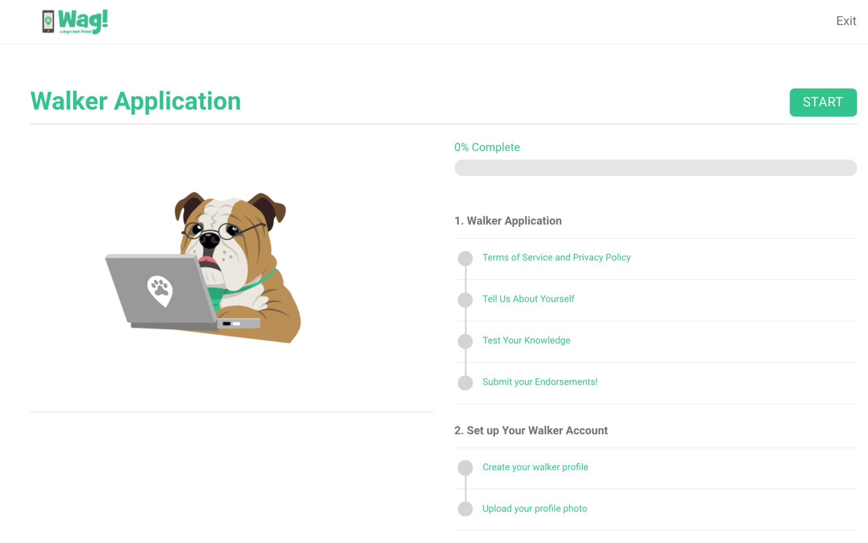 Walker Application Guide - Sign-up Process - Wag!