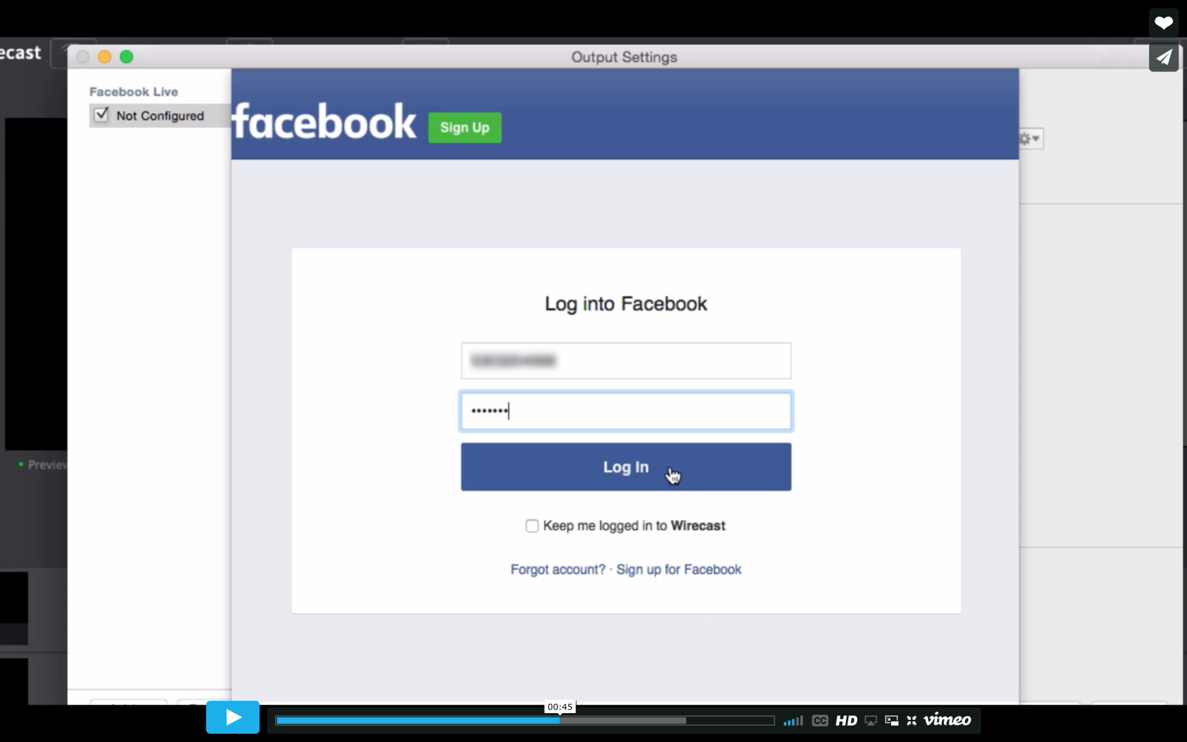 logging into fb not working help wirecast streaming recording