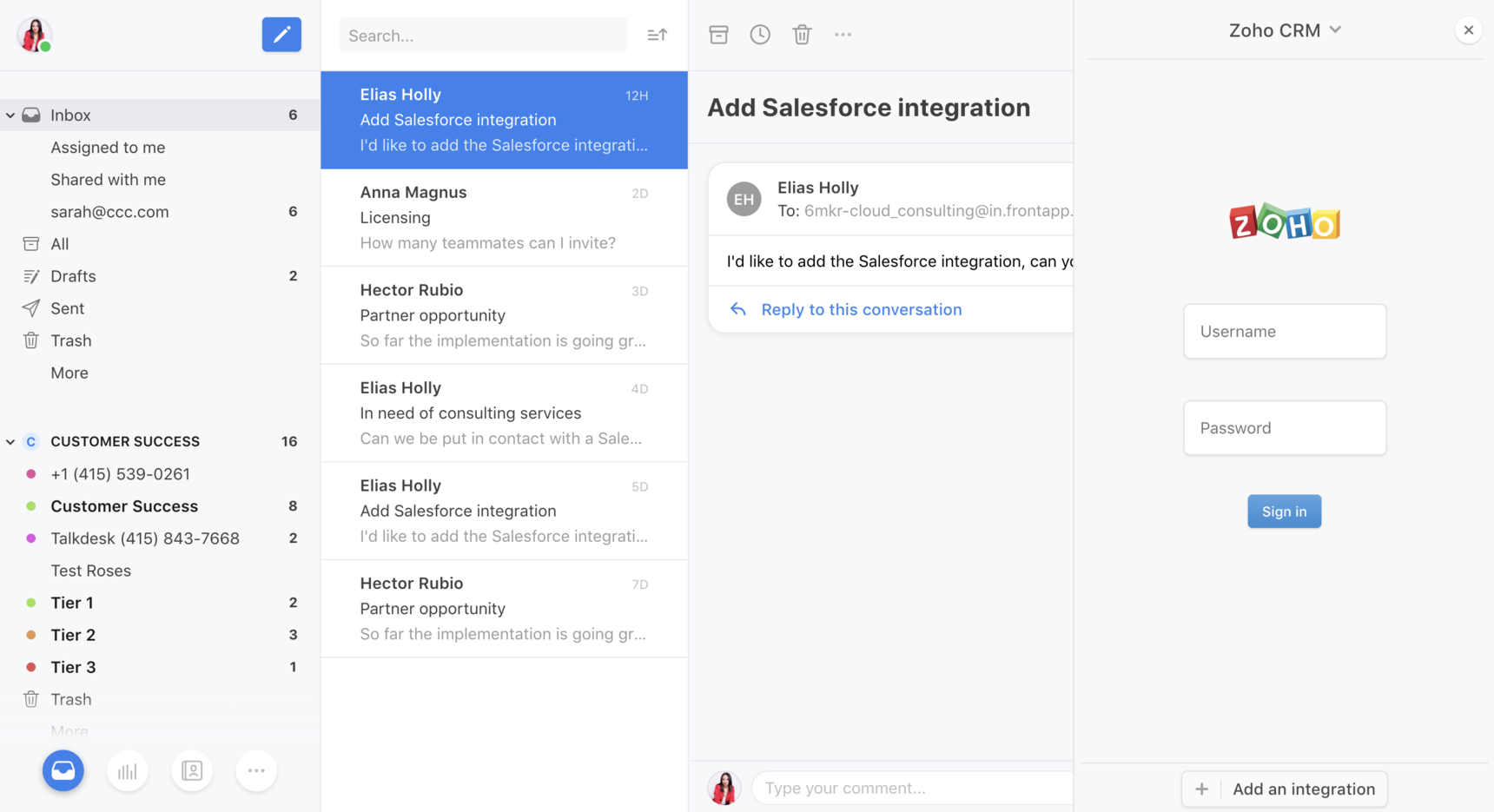 How to enable and use the Zoho CRM integration - API