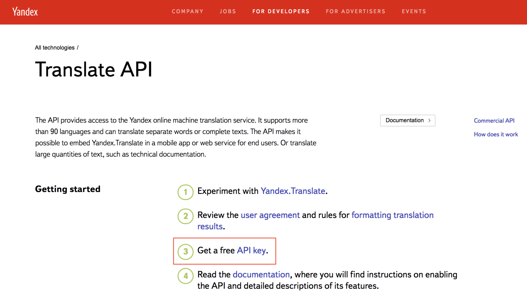 How to enable and use the Translate plugin - API