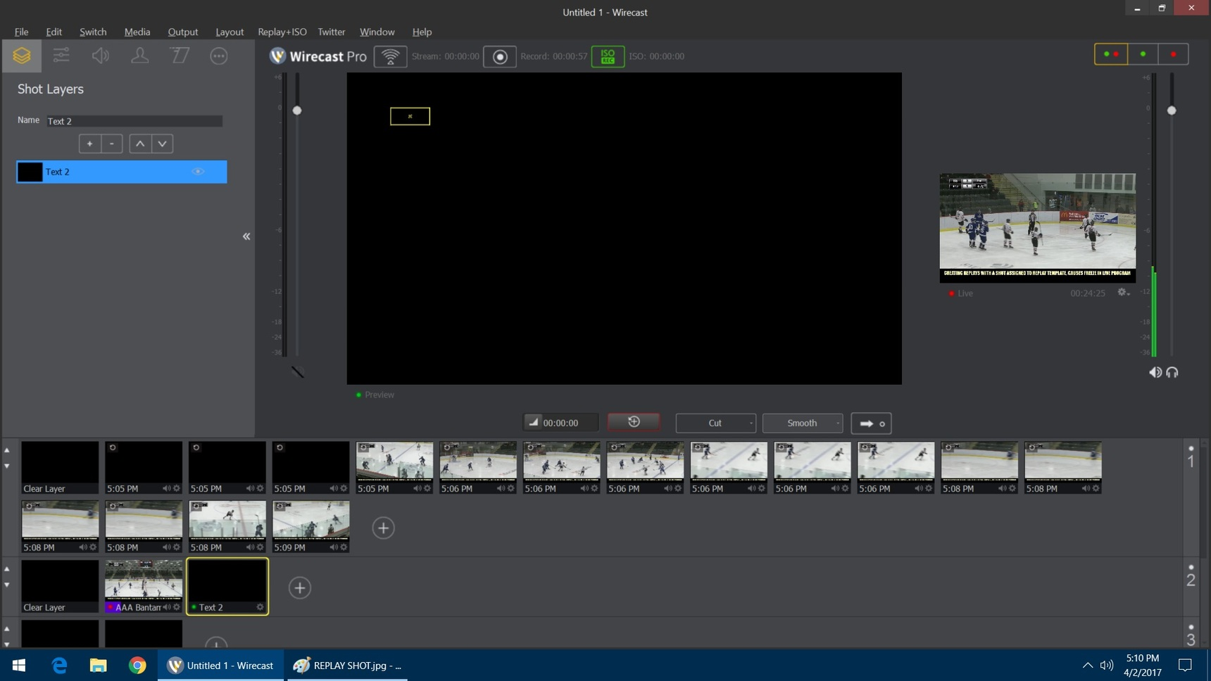 Creating Replay causes freeze on live feed - Wirecast User Interface ...