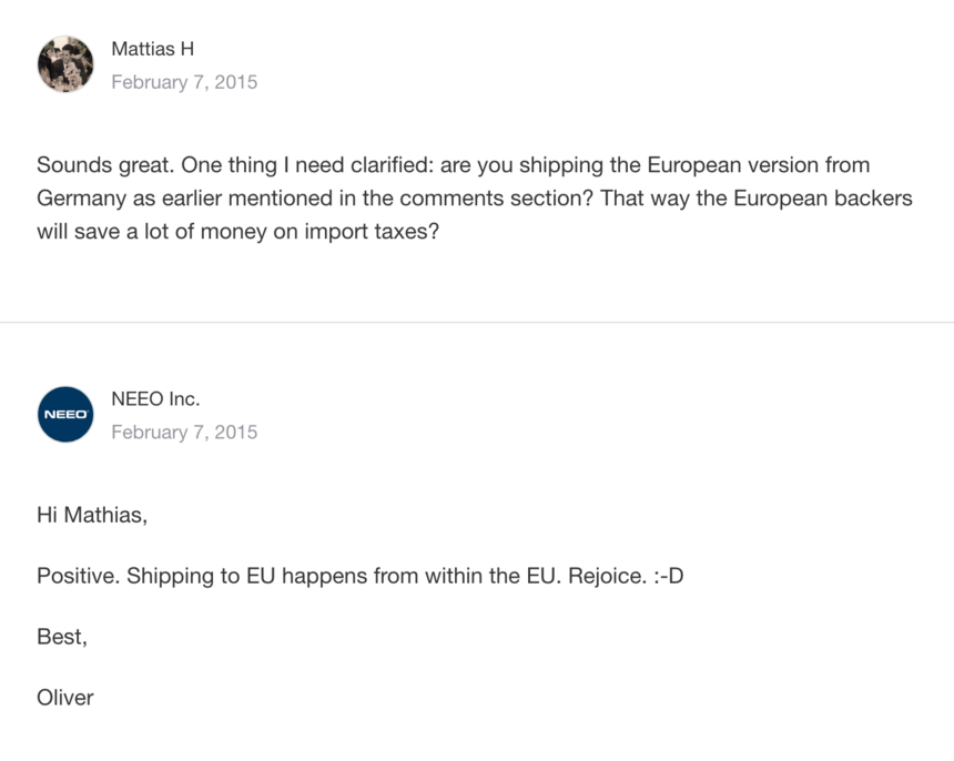 Important shipping Info for backers in Europe and other countries ...