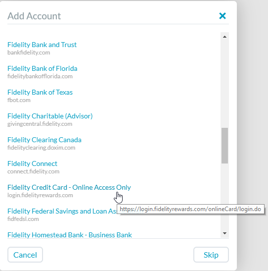 Issue adding fidelity rewards credit card bank importing ynab credit card option strange that you wouldnt sort the url to keep institutions together changing this could help others in the future colourmoves