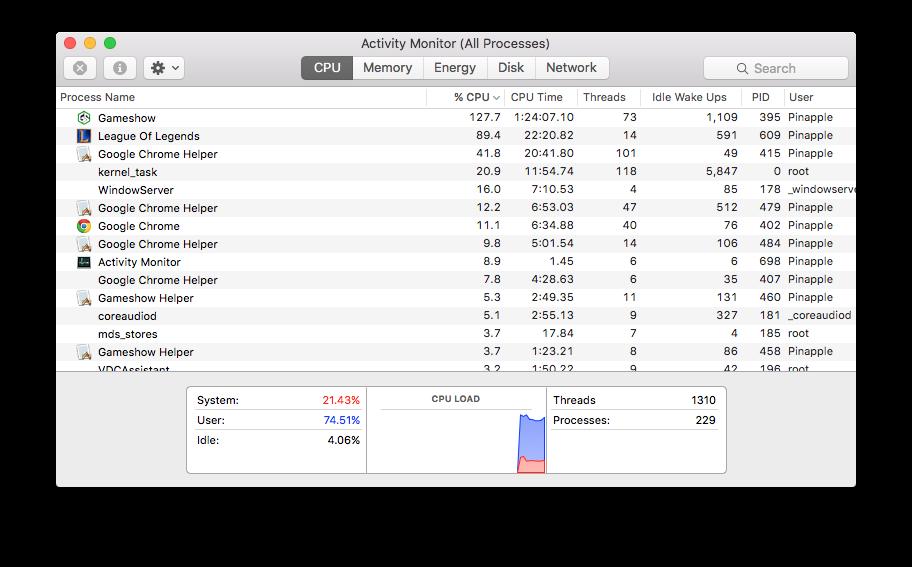 High CPU usage causing frame drops in LoL/stream