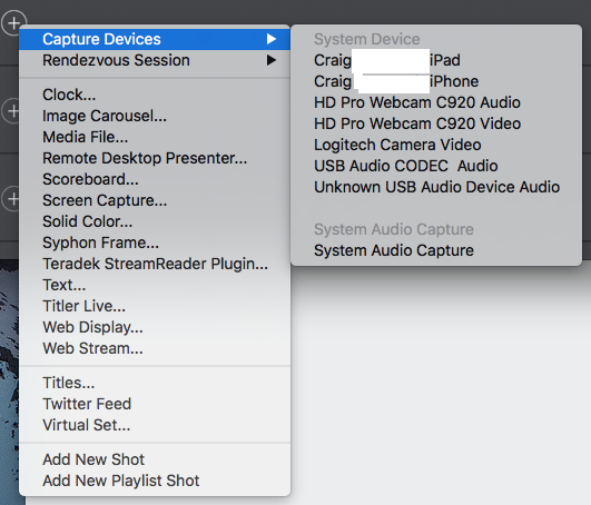 IOS devices and Wirecast 8 - Wirecast Capture Devices and