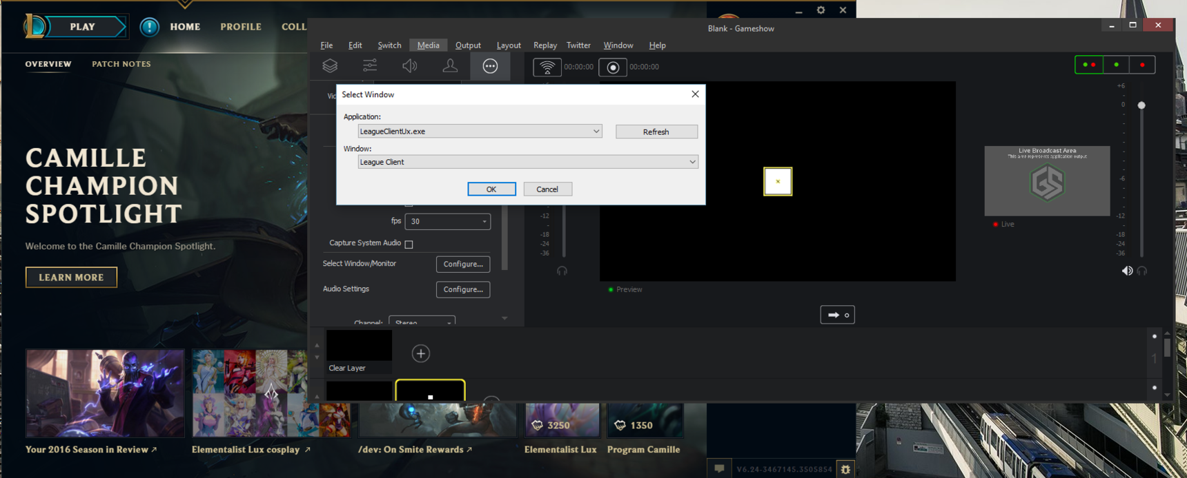 League of legends open Alpha client not captured in 3 5 beta