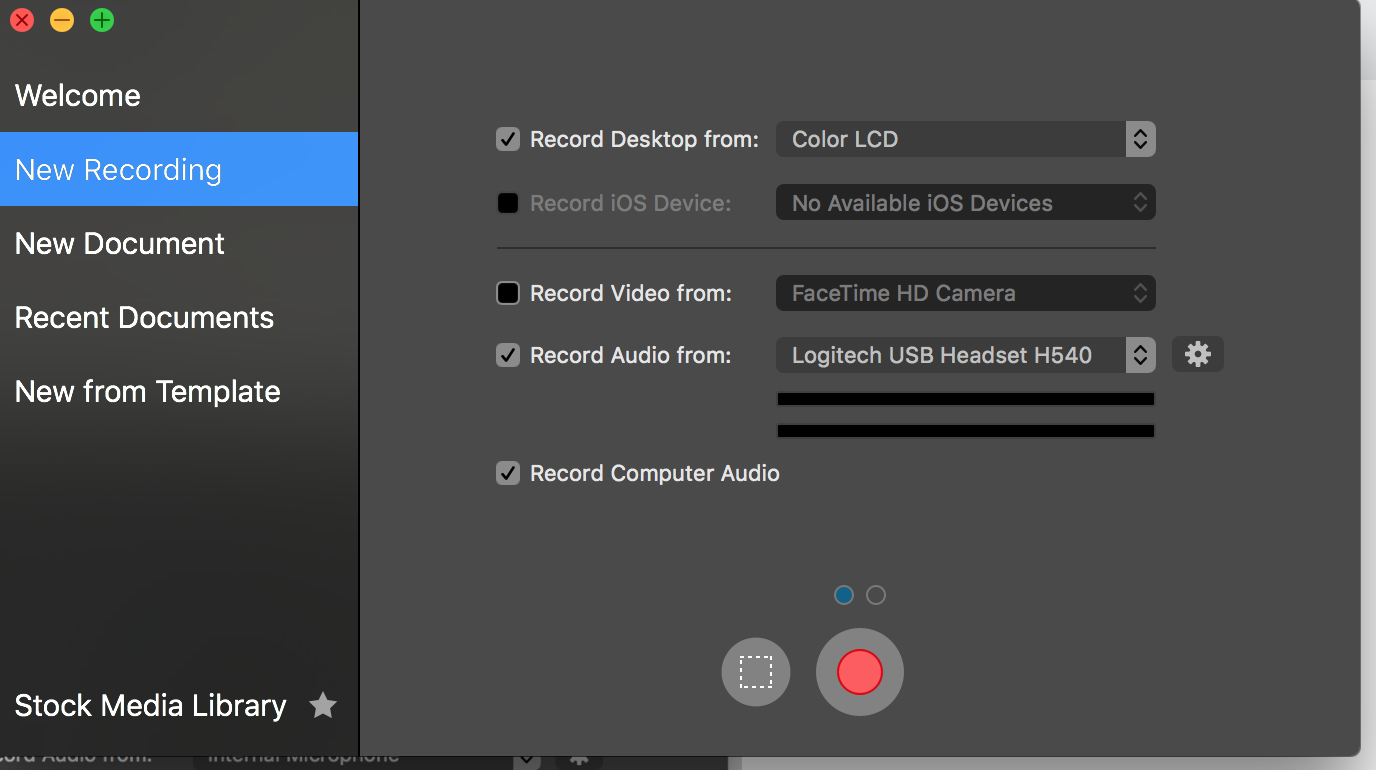 Recording computer audio with USB headset not working in screenflow