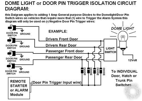 diode isolate negative door trigger relays switches. Black Bedroom Furniture Sets. Home Design Ideas
