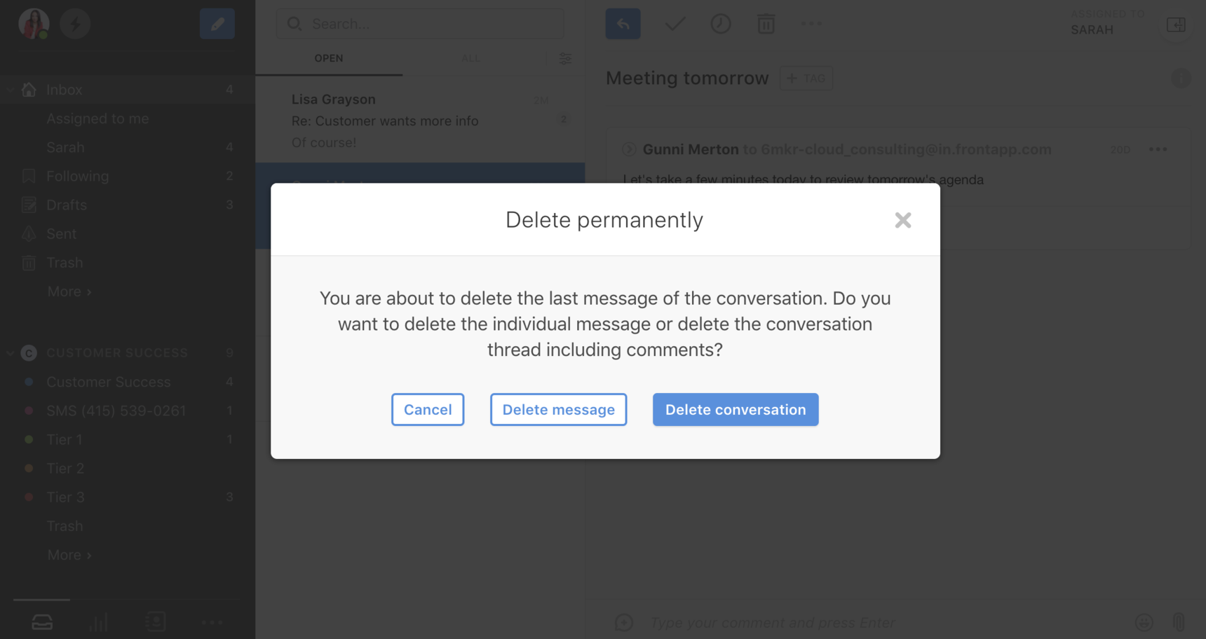 How to permanently delete a message or conversation in Front