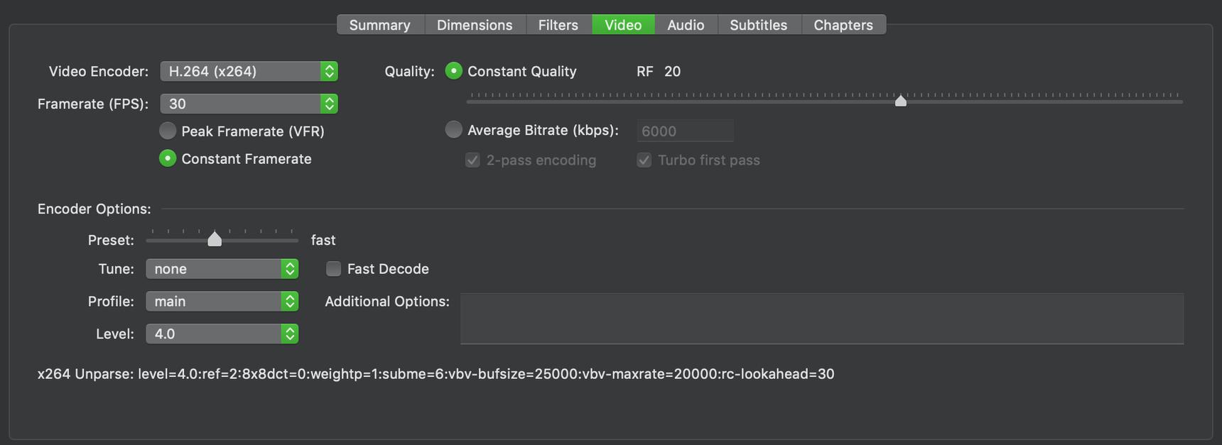 Set ScreenFlow export settings to match Handbrake