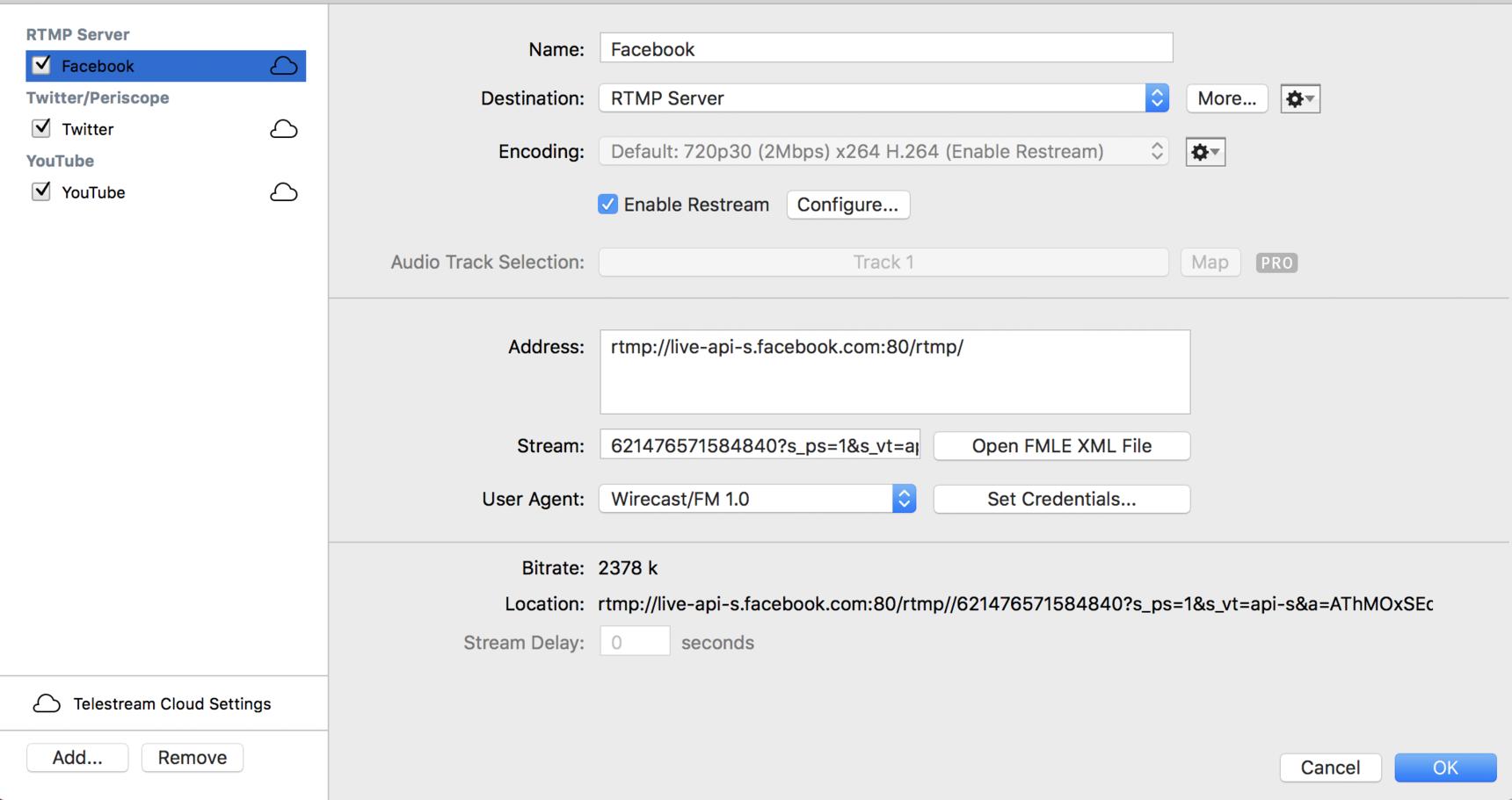 Restreaming Audio Echo - Wirecast Restream & Live Captions