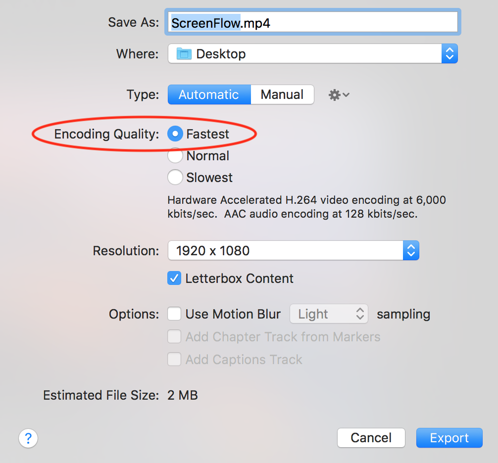 ScreenFlow6 1: Is Web-High H264 Variable Bit Rate (VBR) or Constant