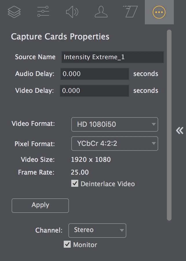 Wirecast Capture Cards Properties Screen - Wirecast Streaming ...