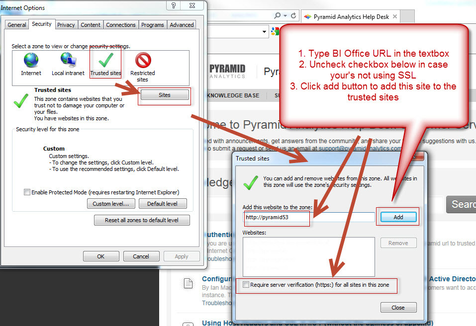IE Browser Settings for Windows Authentication - Authentication