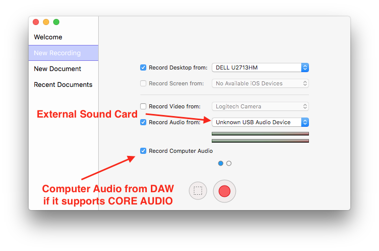 Trying to record guitar via external sound card