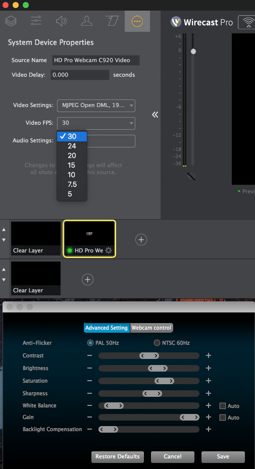 Logitec C920 Frame Rate question - Wirecast Capture Devices and