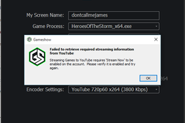 Getting Errors When Trying To Connect To Youtube Gaming