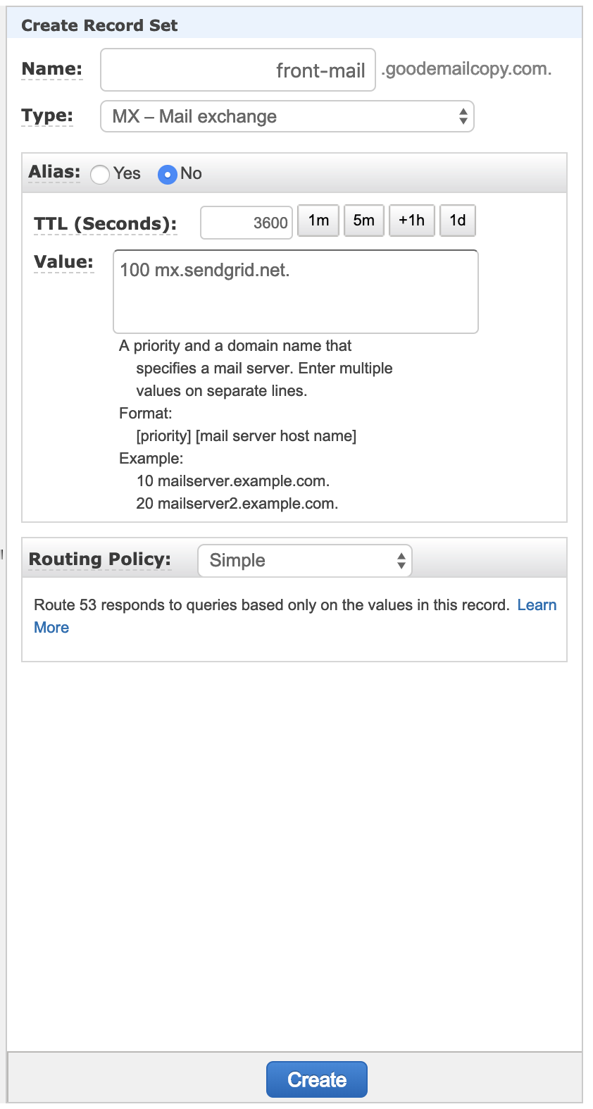 Setting up SendGrid SPF/DKIM DNS records in AWS - Security