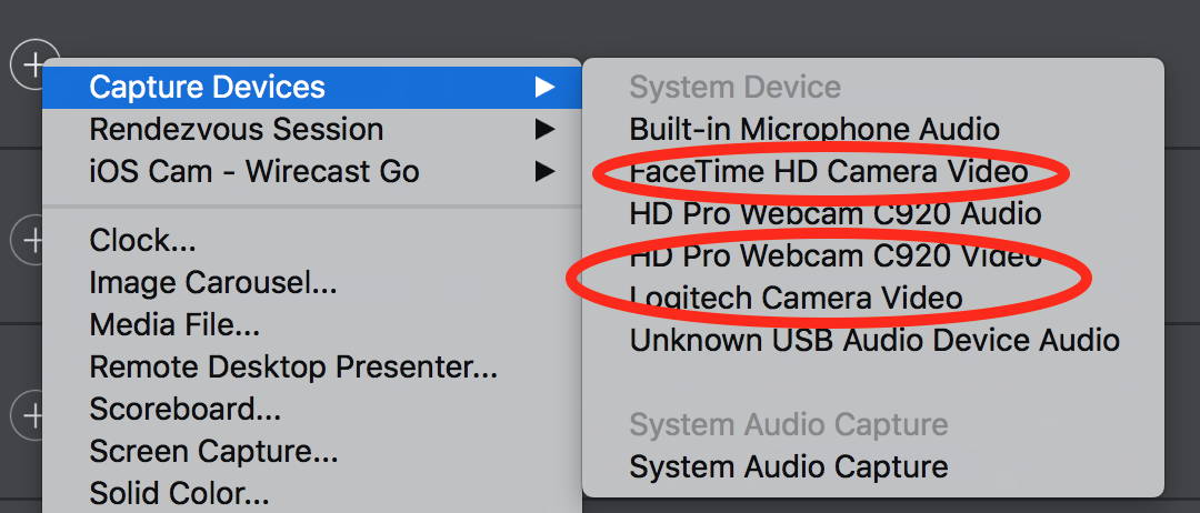 Webcam or USB issues   yet again  - Wirecast Capture Devices and