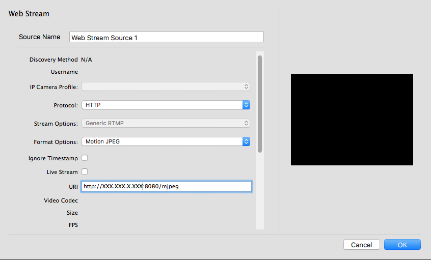 Trouble with Web Streaming from Android IP webcam - Wirecast Capture