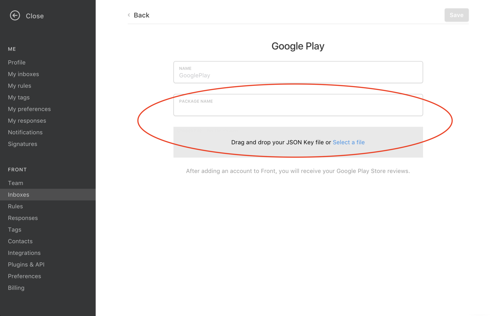 How to set up a Google Play Store inbox in Front - Adding an inbox