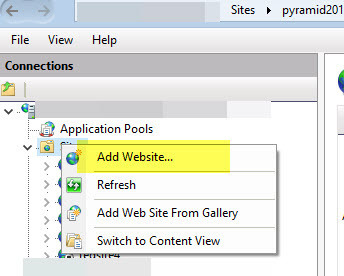 How to create a Pyramid 2018 website in IIS after an install