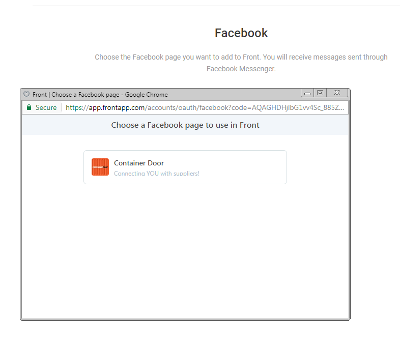 How to set up a Facebook inbox in Front - Adding an inbox - Front