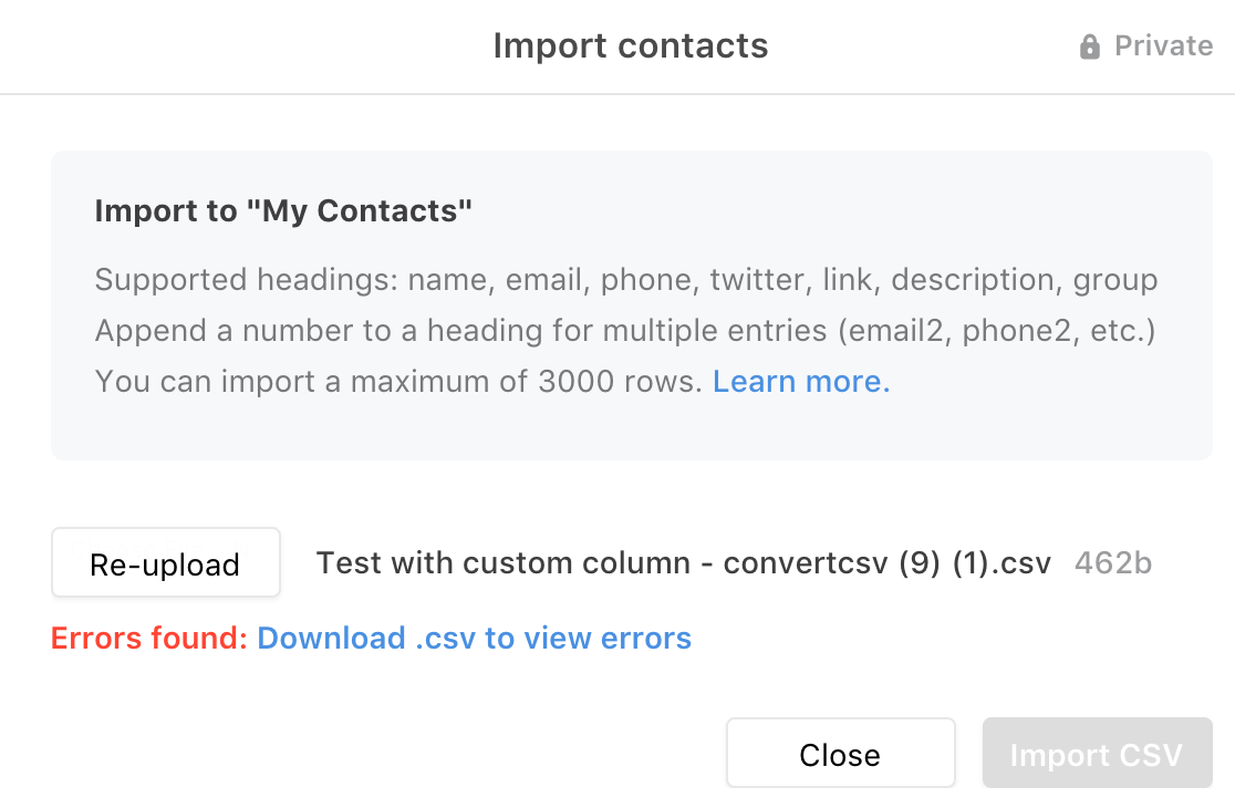 Import or upload contacts in Front - Contacts - Front Help