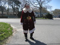 Santa george front of irish village