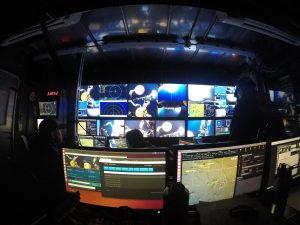 A view from the logger station inside the Jason control van during dive J2-1086. Credit: R. Cennturion, University of Washington, V18.
