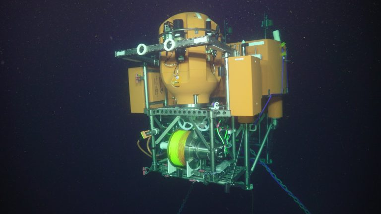 The first look at the Shallow Profiler Mooring after a succesful deployment at Oregon Offshore.   Credit: UW/NSF-OOI/WHOI, V18.