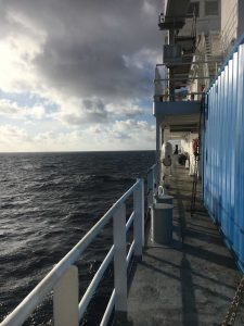 Views from the deck of the R/V Roger Revelle never disappoints. Credit: Riah Buchanan, University of Washington, V18.