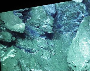 A photo of the Jason van screen showing the exposed methane hydrate at Einsteins' Grotto - the first time we have observed it there.