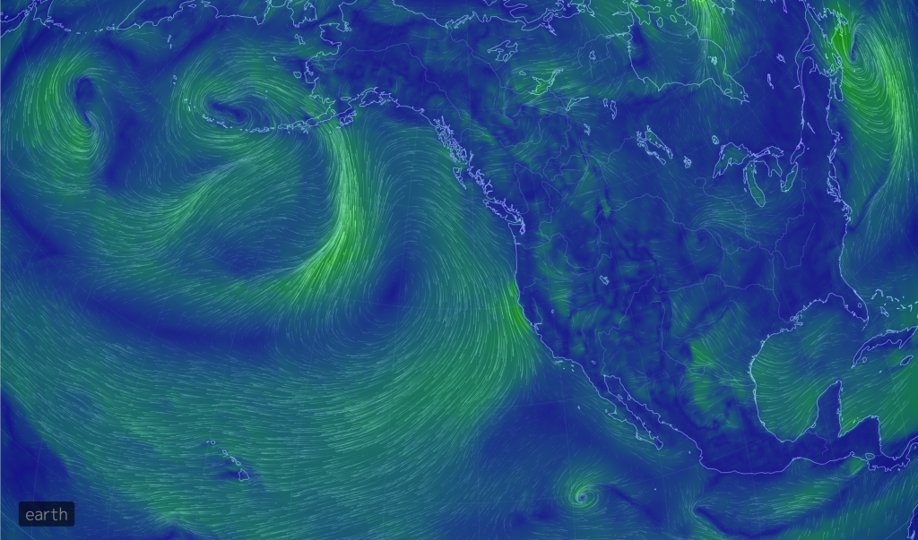 A weather disturbance in the Gulf of Alaska June 25, 2018, is sending large swells into our work area that prevents diving with heavy packages. This screen grab is from the https://earth.nullschool.net/ site, which we frequently use to get an overview of conditions across the Pacific and more locally. The one shown here is of winds.
