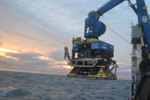 A Benthic Experiment Package, hosting a variety of instruments, is launched under Jason to take down to the Oregon Offshore site during the NSF-OOI-UW Cabled Array expedition. The package hosts a vareity of instruments (ADCP, CTD, oxygen, pH, currents etc) to examine oceanographic processes on the Oregon margin. Credit: M. Elend, University of Washington, V18.