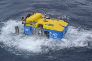 The remotely operated vehicle Jason, operated by Woods Hole Oceanographic Institution, enters the NE Pacifc off Newport Oregon as part of the University of Washington led, NSF-OOI Cabled Array expedition. Credit: M. Elend, University of Washington, V18.