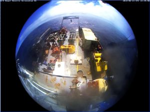 A fish-eye view of the fantail of the R/V Revelle. This ship camera provides a continous overview of the back deck, allowing folks working inside the ship to monitor operations. Its a beautiful day today.