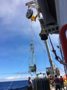 Retrieving fluid sampler of hydrothermal vents. Photo by Ann Stafford