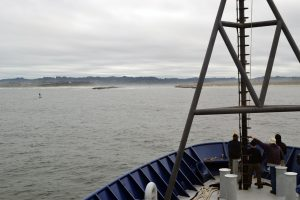 The R/V Revelle transits to Newport at the end of Leg 2 of the VISIONS'17 expedition. Credti: M. Elend, University of Washington, V17.
