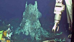 """The camera was reinstalled in the ASHES hydrothermal field during Leg 2 of the Cabled Array OOI-NSF VISIONS17 cruise. The structure is ~ 3.5 m tall and covered in tube worms, limpets, scaleworms and palmworms. This camera has a brush on it so that it can """"clean its face"""" of biofouling. Credit: UW/OOI-NSF/WHOI; V17."""
