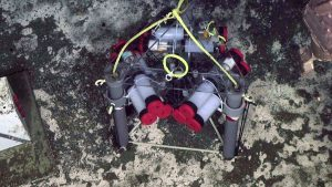 A Mosquito, developed by UW Marine Geologist, Evan Solomon, is deployed at a methane seep at Southern Hydrate Ridge. The instrument pulls in fluids in the sediments with a tracer. The instruments are recovered annually and the fluid chemistry analyzed, providing calculations of the flow of fluids both into, and out of the seafloor. Credit: UW/OOI-NSF/WHOI' V17.