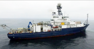 A view of the R/V Roger Revelle, operated by Scripps Institution of Oceanography, as viewed from a drone flown by Applied Physics Laboratory engineer, Chuck McGuire. Credit: C. McGuire, University of Washington.