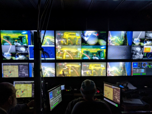 A view of the inside of the Jason control van at the beginning of Leg 2. Jason is working on the a Benthic Experiment Package off of Newport Oregon. Credit: Z. Cooper, University of Washington, V17.