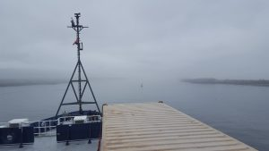 View from the vessel while leaving the dock under misty/foggy conditions. Credit: Michelle Lee, University of Washington, V17.