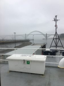 A view of the Yaquinna Bridge out the Chief Scientists' cabin (UW Professor, Deb Kelley) as the R/V Revelle is about to leave port to begin Leg 2 of the UW-OOI-NSF Regional Cabled Array cruise. Credit: D. Kelley, University of Washington, V17.