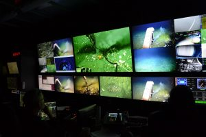 """A diverse suite of displays allow monitoring of ROV operations in the control van during the dive to the Pythias Oasis Site discovered by, then, University of Washington School of Oceanography undergraduate Brendan Philp. The central large display shows the """"Gusher"""" site, ringing by orange anemones and adjacent clams. The Jason manipulator holds a temperature probe used to measure the warm fluids. Credit: M. Elend, University of Washington, V17."""
