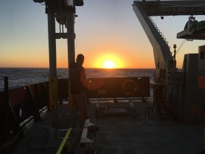 Students went out to see a green flash, which did not materialize. But, there was a beautiful sunset. Credit: Kelsy Cain, University of Washington, V17.