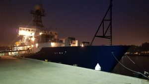 The R/V Roger Revelle is tied up at the Newport NOAA facility on a peaceful summer night. Credit: Carlos Arcila, Puerto Rico, V17