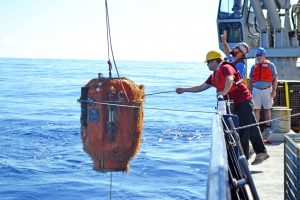 The Science Pod component from the winched shallow profiler comes onboard the R/V Revelle. It was completely free of animal growth when installed summer of 2016. Credit: M. Elend, University of Washington.