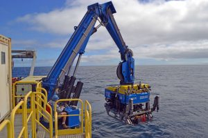 The ROV Jason enters the water at the Cabled Array Offshore Oregon site, water depth 600 m. Credit: M. Elend, University of Washington.